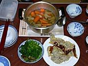 餃子、山菜、汁