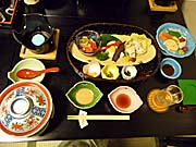湯宿温泉金田屋さんの夕食の一部