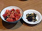 茄子とトマトのサラダ、茄子とミョウガの浅漬け