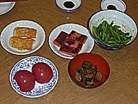赤天、のやき、胡麻和え、冷やしトマト、茄子の浅漬け