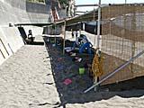 砂むし温泉 日よけの囲いアリ