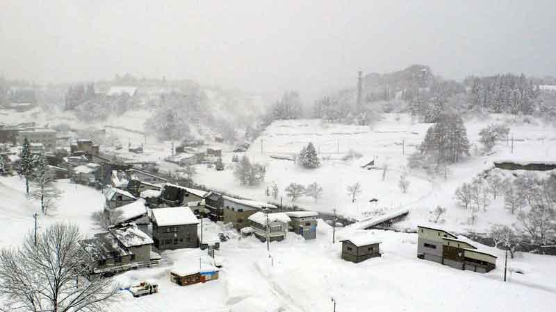 肘折温泉の雪景色