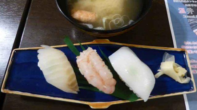 はぼろ温泉サンセットプラザの夕食 〆は寿司