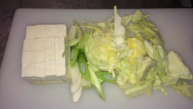 キャベツと葱と豆腐
